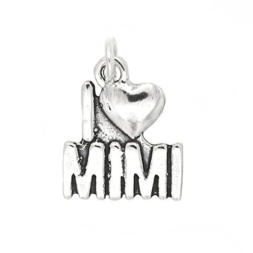 1 Grandmother Charm - Sterling Silver Oxidized One Sided I Love Mimi Grandmother Charm