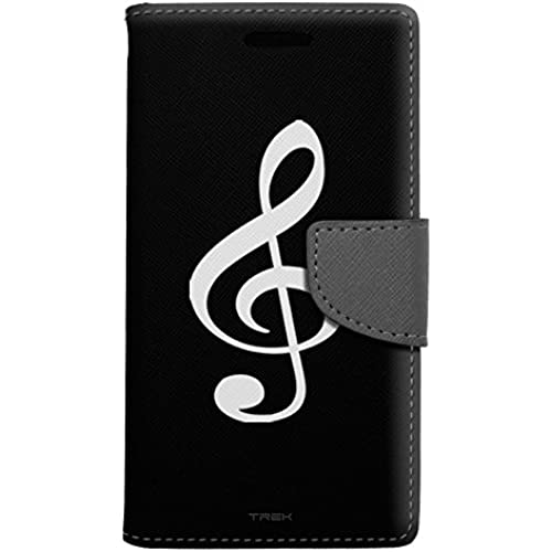 Samsung Galaxy S7 Edge Wallet Case - Silhouette Treble Clef Musician on Black Case Sales
