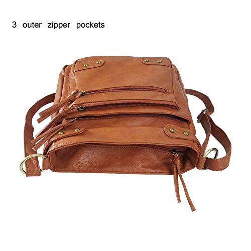 FanCarry Washed Soft PU Leather Crossbody Purse Multi Pocket Shoulder Satchel Bags for Women (Dark Orange-upgraded) by FanCarry (Image #4)
