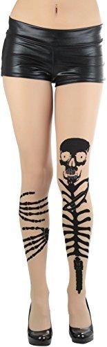 ToBeInStyle Women's Skeleton Grabbing Leg Look Spandex Tights