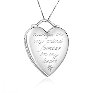 "Sterling Silver ""always on my mind forever in my heart"" Heart Locket Pendant Necklace 18"" By Regetta Jewelry"