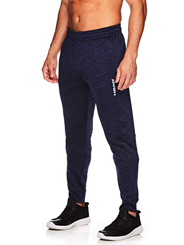 HEAD Men's Jogger Running Pants - Performance Workout & Jogging Activewear Sweatpants - Lazer Navy Heather, Medium