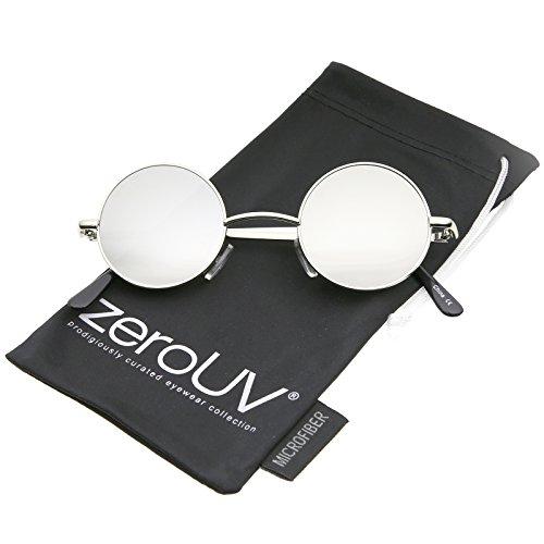 Small Retro Lennon Style Colored Mirror Lens Round Metal Sunglasses 41mm (Silver/Silver -