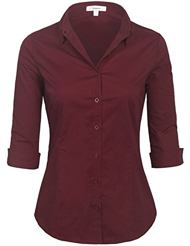 KOGMO Womens Classic Solid 3/4 Sleeve Button Down Blouse Dress Shirt (S-3X)-S-Burgundy