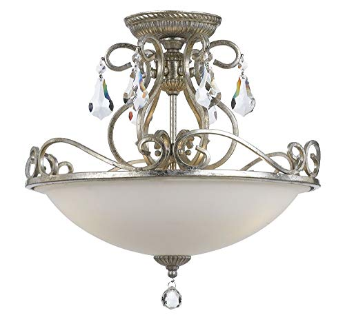 Crystorama 5010-OS-CL-MWP Crystal Accents Three Light Ceiling Mount from Ashton collection in Pwt, Nckl, B/S, Slvr.finish,