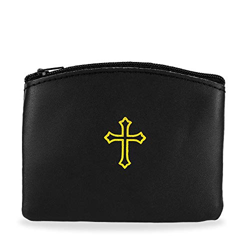 Black Genuine Leather Zipper Rosary Pouch with Gold Cross Design