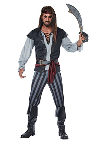 California Costumes Men's Scallywag Pirate Adult Man Costume, Black/Gray, Large -