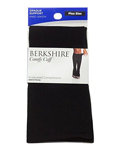Berkshire Women's Opaque Graduated Compression Trouser Sock, Black, Plus Size (Microfiber Opaque Trouser Sock)