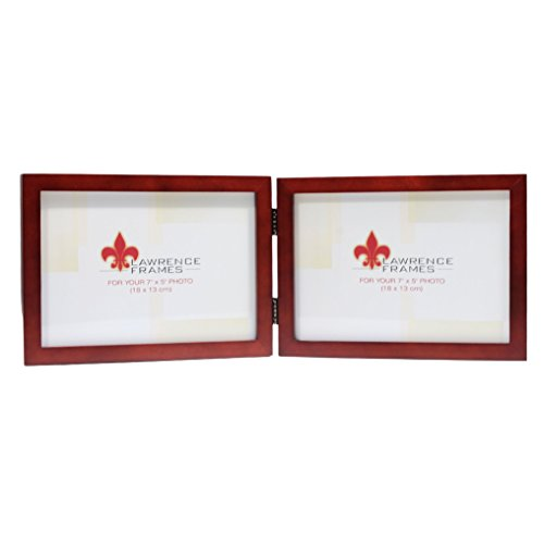 (Lawrence Frames Hinged Double (Horizontal) Walnut Wood Picture Frame, Gallery Collection, 5 by)