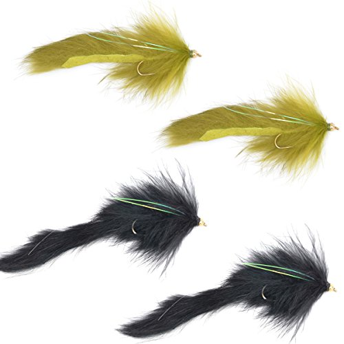 The Fly Fishing Place Bead Head Bouface Bunny/Marabou Streamer Flies - Set of 4 Big Bass and Trout Fly Fishing Flies - Hook Size 4