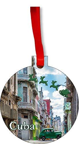 Rosie Parker Inc. Santa Klaus and Sleigh Riding Over Old Havana, Cuba Round Shaped Flat Hardboard Christmas Ornament Tree Decoration - Unique Modern Novelty Tree Décor Favors (Christmas Decorations Cuba)