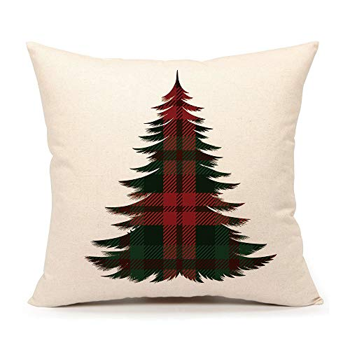 4TH Emotion Christmas Tree Throw Pillow Cover Red Buffalo Check Plaids Cushion Case for Sofa Couch 18 x 18 Inch Cotton Linen