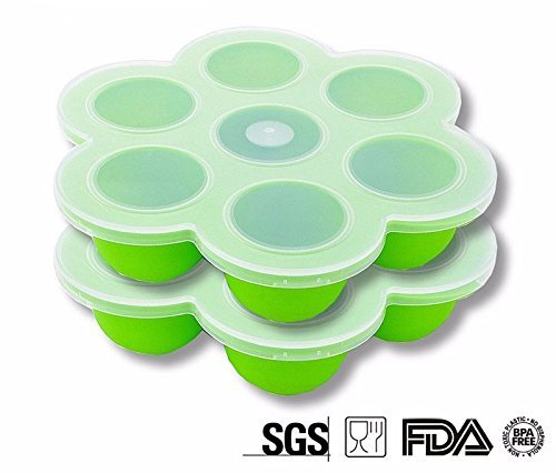 Silicone Food Storage Container With Clip-on Lid -Set of Two - Light Green - Great for baby food and egg bites