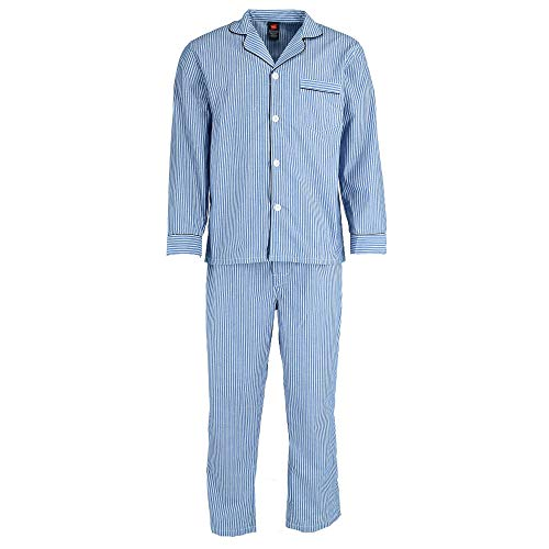 (Hanes Men's Broadcloth Long Sleeve Pajama Set, Large, Blue Stripe)