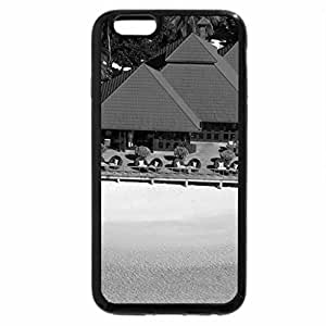 iPhone 6S Case, iPhone 6 Case (Black & White) - Beach Huts
