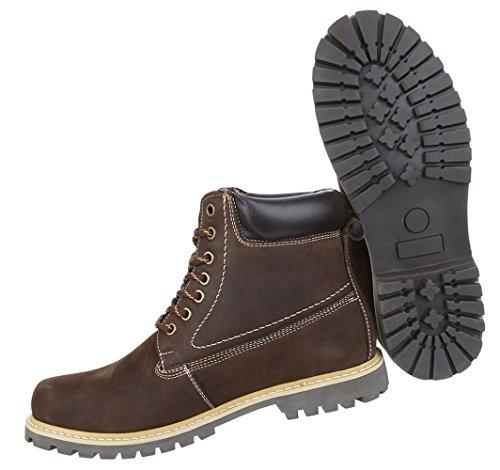Herren Boots Schuhe Leder Schnürschuhe Stifeletten Beige Beige Braun 41 42 43 44 45 46 Braun