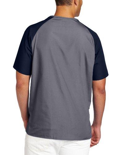 WonderWink Men's Raglan Color Block 5 Pocket Scrub Top, Gray, Large by WonderWink (Image #2)