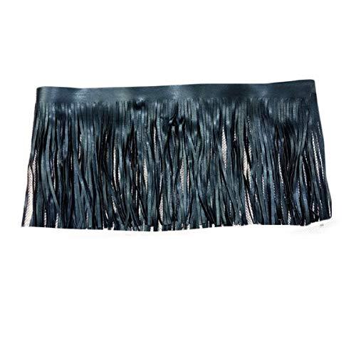 Yalulu 2 Meter Black/White Double Side Leather Tassel Lace Skirt Garment Bag Handmade DIY Sewing Craft Hem Accessories (Black)
