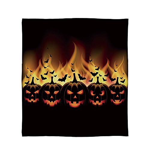 ALUONI Lightweight Blanket,Vintage Halloween,for Bed Couch Chair Fall Winter Spring Living Room,Size Throw/Twin/Queen/King,Happy Halloween Image with Jack o Lanterns]()