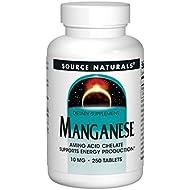 Source Naturals Manganese 100mg Amino Acid Chelate Supplement - 250 Tablets