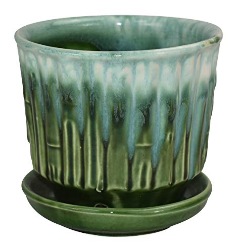McCoy Pottery Colorful Bamboo Flower Pot with Attached Saucer Shape 0372