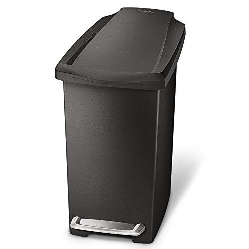 Step Wastebasket - simplehuman 10 Liter / 2.6 Gallon Compact Slim Bathroom or Office Step Trash Can, Black Plastic
