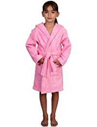 TowelSelections Big Girls Robe, Kids Hooded Cotton Terry Bathrobe Cover-up Size 10 Light Pink