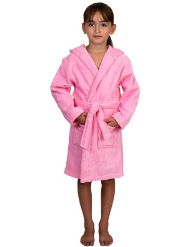 TowelSelections Big Girls Robe, Kids Hooded Cotton Terry Bathrobe Cover-up Size 8 Light Pink