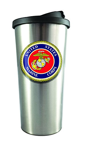 Spoontiques 20830 U.S. Marines Stainless Steel Travel Mug, Silver