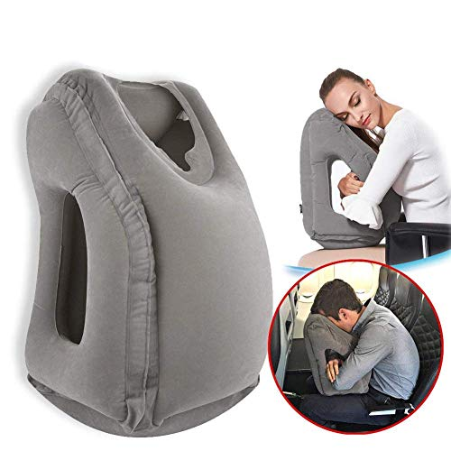 Povinmos Travel Pillow Sleep Aid, Premium Comfortable Inflatable Portable Head Neck Rest Pillow, Design for Airplanes, Cars, Buses, Trains, Office Napping, Outdoor Camping - Grey ()
