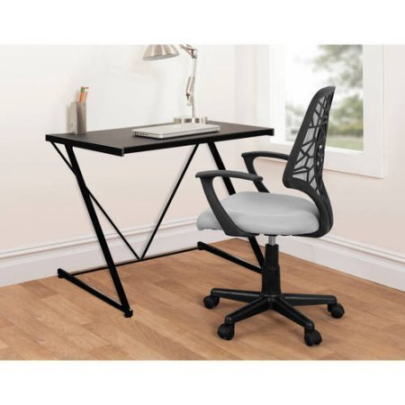 Urban Shop Z-Shaped Student Desk /Model:WK659784/color:,Black Classic Student Chair Desk