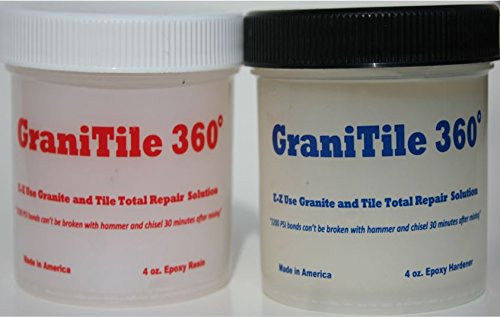 GraniTile 360 ~ 8 oz. epoxy knife-grade kit. Specifically formulated for granite, tile, and ALL stone repair / Easily and quickly repairs chipped, broken and missing pieces / Covers 350 sq. inches
