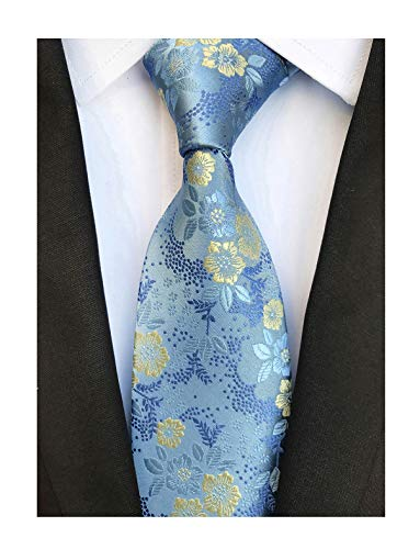 Men's Sky Blue Tie Yellow Spring Floral Party Wedding Woven Silk Paisley Necktie (Blue Shirt Yellow Tie)