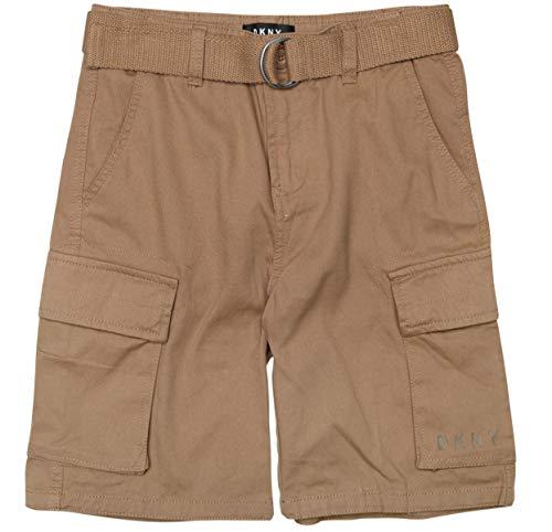 DKNY Boys' Casual Summer Belted Twill Cargo Shorts, Dark Khaki, Size Large 14-16' ()