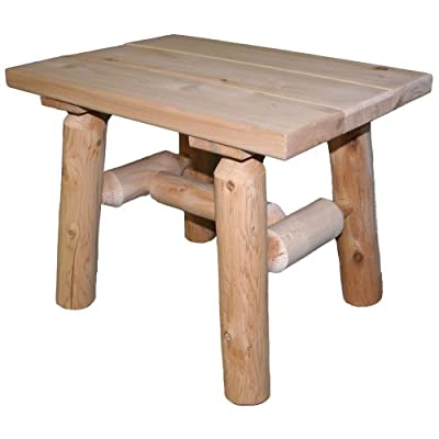 Lakeland Mills Cedar Log End Table, Natural - The legs and spreaders are made of insect and weather resistant white cedar, but the top is pine. Made from a renewable resource and byproduct of the log home industry - patio-tables, patio-furniture, patio - 417R%2BHb2ufL. SS400  -