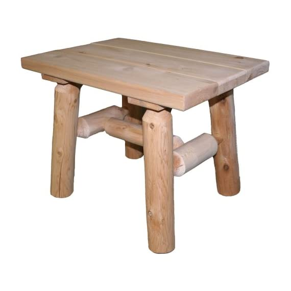 Lakeland Mills Cedar Log End Table, Natural - The legs and spreaders are made of insect and weather resistant white cedar, but the top is pine. Made from a renewable resource and byproduct of the log home industry - patio-tables, patio-furniture, patio - 417R%2BHb2ufL. SS570  -