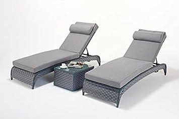 Marvelous Manhattan Grey Garden Furniture Sun Lounger Pair With Table