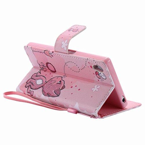 Yiizy Sony Xperia Z5 Funda, Coño De Color Rosa Diseño Solapa Flip Billetera Carcasa Tapa Estuches Premium PU Cuero Cover Cáscara Bumper Protector Slim Piel Shell Case Stand Ranura para Tarjetas Estilo