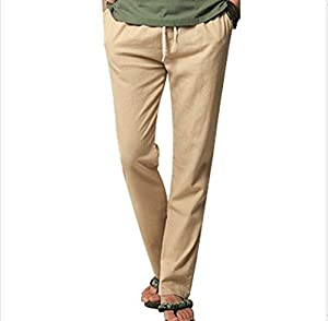 Meiruian Summer Men's Cotton Linen Blend Pants Loose Casual Pants