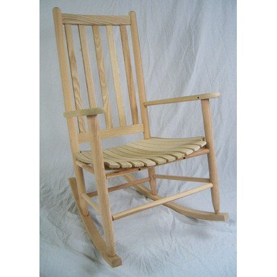 Dixie Seating Company Slat Seat Adult Rocking Chair Unfinished 143394-OG-47429-O-177599, white
