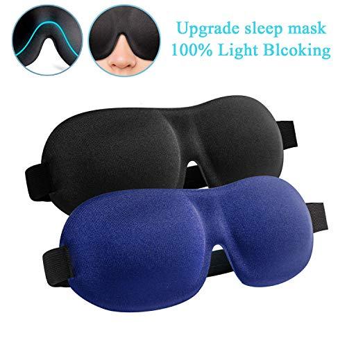 Sleep Mask, 2 Pack Upgraded 100% Blackout Sleeping Mask, Super Soft & Comfortable Adjustable 3D Contoured Sleep Eye Mask for Travel, Shift Work, Naps - Best Night Blindfold Eyeshade for Men Women