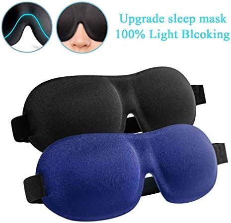 Sleep Mask, 2 Pack Upgraded 100% Blackout Sleeping Mask, Super Soft & Comfortable Adjustable 3D Contoured Sleep Eye Mask for Travel, Shift Work, Naps – Best Night Blindfold Eyeshade for Men Women