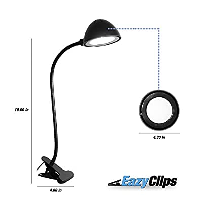 """LED Clip on Desk Lamp - PREMIUM 18"""" Clip Lamp/USB Adapter Included/Two Modes Brightness"""