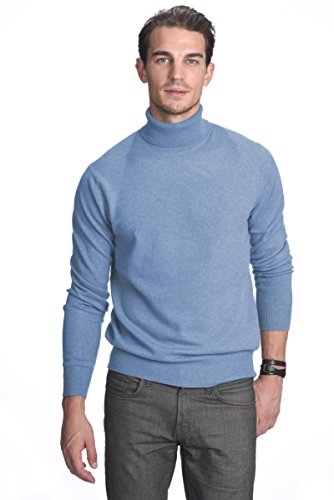 State Cashmere Men's 100% Pure Cashmere Turtleneck Long Sleeve Pullover Sweater (X-Large, Baby Blue)