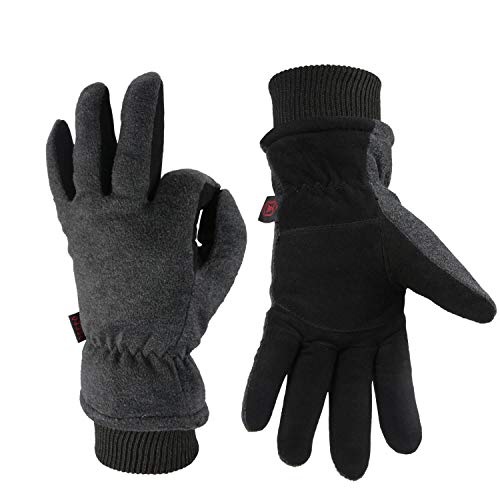 OZERO Ski Gloves Coldproof Thermal Skiing Glove - Deerskin Leather Palm & Polar Fleece Back with Insulated Cotton - Windproof Water-Resistant Warm Hands in Cold Weather for Women Men - Gray(S)