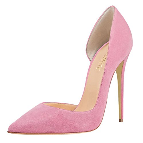 Dame MERUMOTE On Slip Pink Kleid Y 018 Wildleder Schuhe Designer Damen UK Absatz 11 3 Pumps Spitze wqIg0nwr