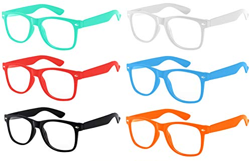 6 Pairs Retro Vintage Clear Lens Sunglasses Colored