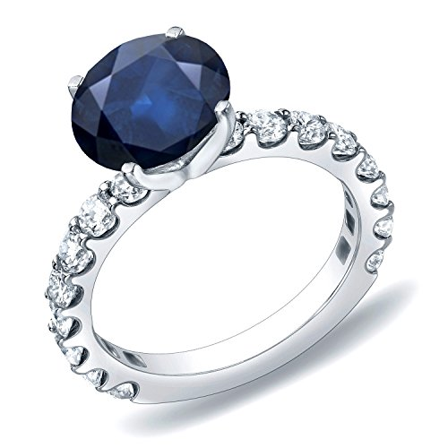 14k Gold Round Blue Sapphire and Diamond Engagement Ring (1 3/4 cttw, Blue, H-I, SI1-SI2) Size 4-9