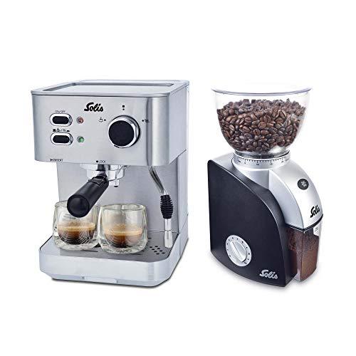 Solis Primaroma 1010 – Set Cafetera de espresso + Molinillo de café – 1,5 L – 15 bar – Café molido – Acero inoxidable