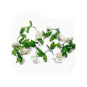 2.4M Silk Rose Flower Ivy Vine Artificial Flowers Artificial Flower Garland,White 240cm 59